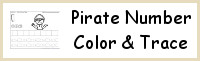 Pirate Themed Number Color and Trace