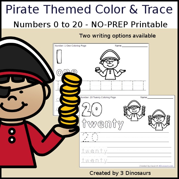 No-Prep Pirate Coin Themed Number Color and Trace - easy no-prep printables with a fun pirate theme 44 pages with two options for the numbers tracing or writing $ - 3Dinosaurs.com #noprepprintable #pirateprintables #numbersforkids