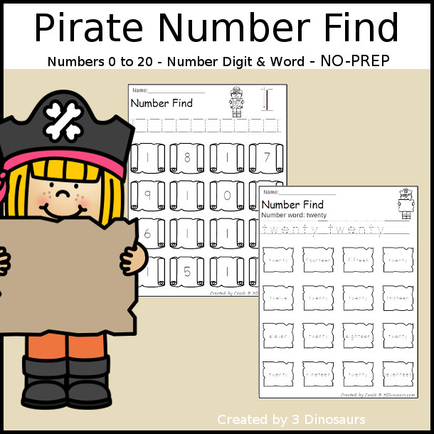 Pirate Themed Number Find - easy to use no-prep printable numbers 0 to 20 $ - 3Dinosaurs.com