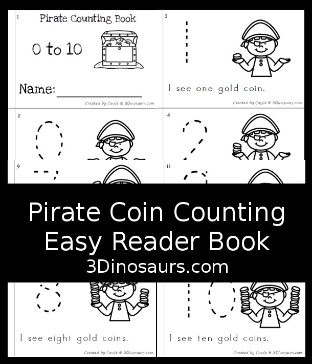 FREE Pirate Counting Easy Reader Book - has 6 pages with number 0 to 10 with pirate counting themes - 3Dinosaurs.com