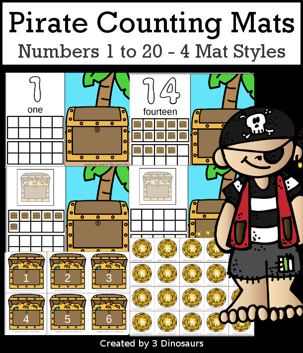 Pirate Counting Mats: 1 to 20 - hands-on math with playdough number and ten frames with 4 mat options - 3Dinosaurs.com