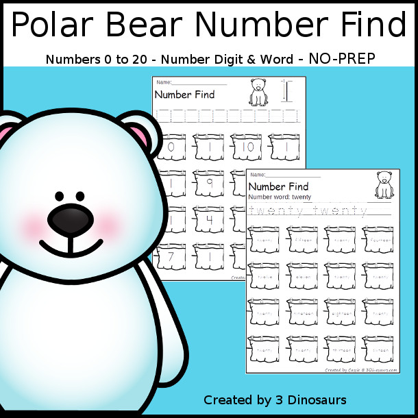 Polar Bear Themed Number Find - easy to use no-prep printable numbers 0 to 20. It has number word and number digit for kids to work on. - 3Dinosaurs.com