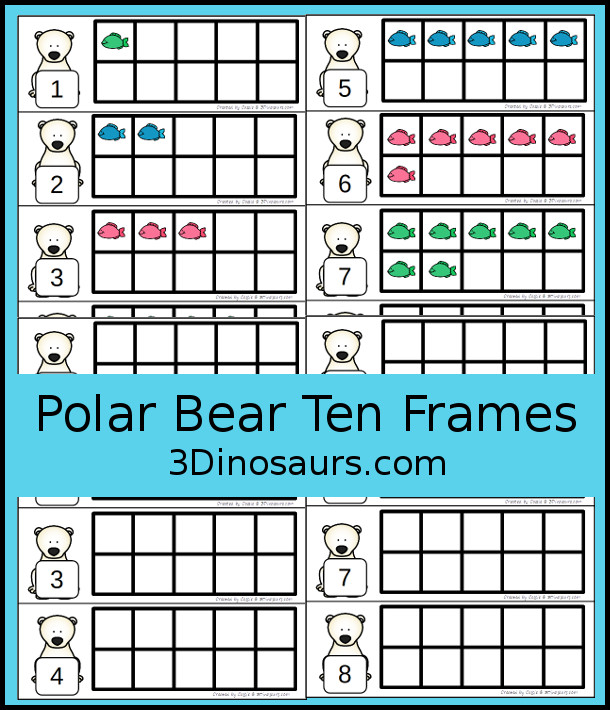Free Polar Bear Themed Ten Frame Cards with numbers from 1 to 10 with two types of cards - 3Dinosaurs.com