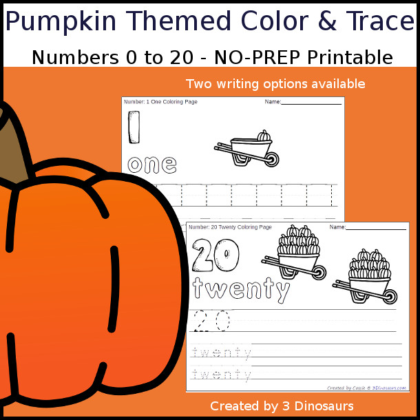 No-Prep Pumpkin Themed Number Color and Trace - easy no-prep printables with a fun fall theme 44 pages with two options for the numbers tracing or writing $ - 3Dinosaurs.com
