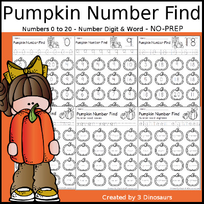 Pumpkin Themed Number Find: Digit and Words with tracing $ - 3Dinosaurs.com