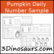 Pumpkin Daily Themed Number Sample