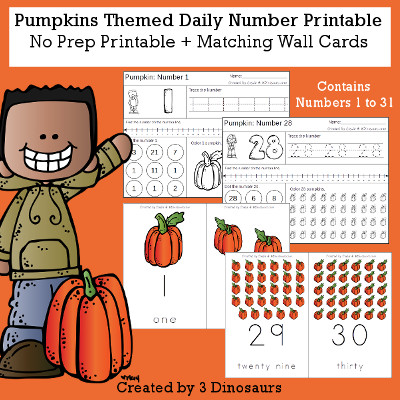 Pumpkin Daily Number For the Fall - wall cards, no-prep printables $4 - 3Dinosaurs.com