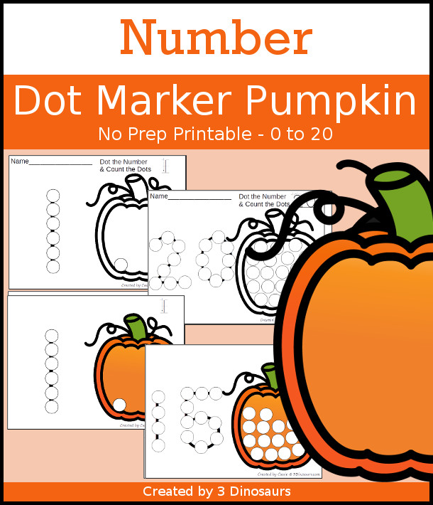 Pumpkin Dot the Number & Count the Dots - numbers 0 to 20 with dot marker activities for kids to work on numbers and counting - 3Dinosaurs.com