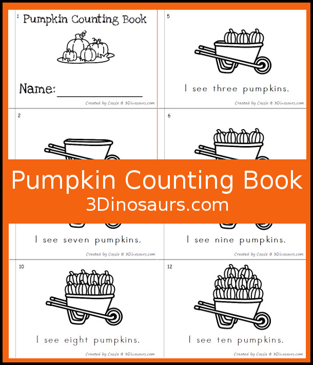 Free Pumpking Counting Book - numbers 0 to 10 - 3Dinosaurs.com