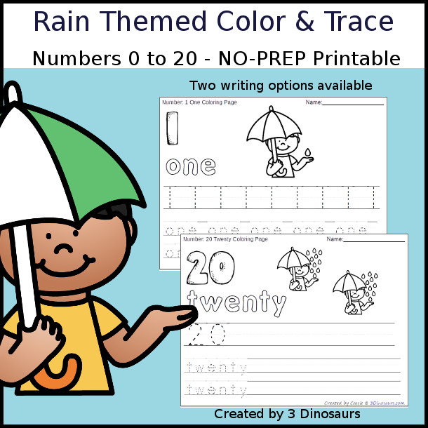 No-Prep Rain Themed Number Color and Trace - easy no-prep printables with a fun rain theme 44 pages with two options for the numbers tracing or writing $ - 3Dinosaurs.com #noprepprintable #springprintables #numbersforkids
