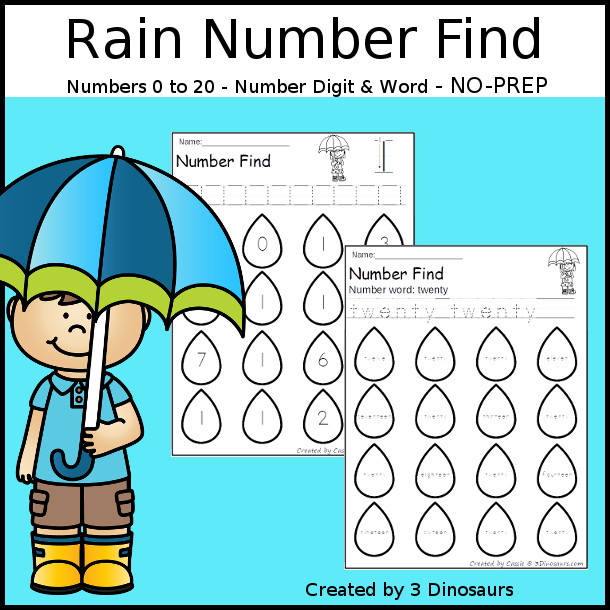 Rain Number Find - easy to use no-prep printable numbers 0 to 20 $ - 3Dinosaurs.com