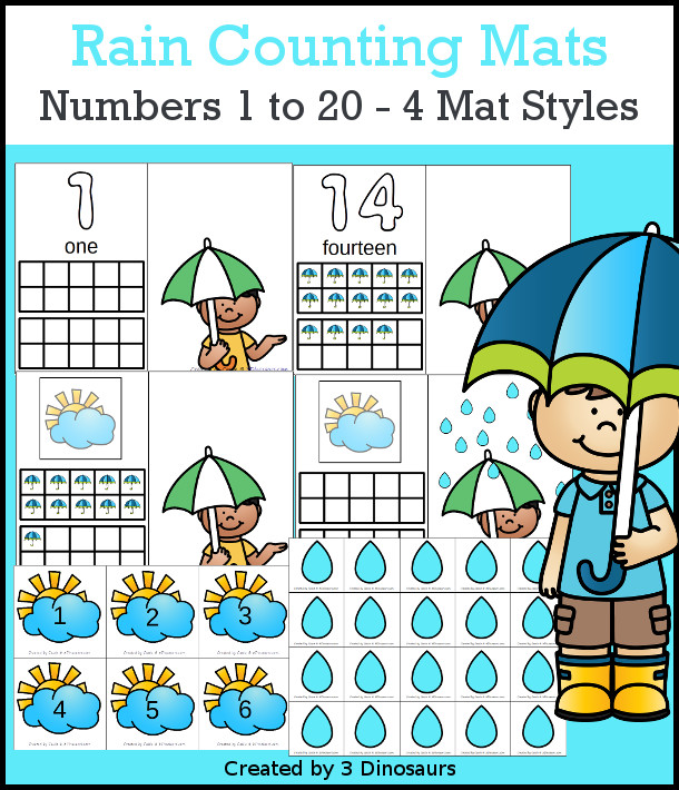 Rain Counting Mats: 1 to 20 - hands-on math with playdough number and ten frames with 4 mat options - 3Dinosaurs.com