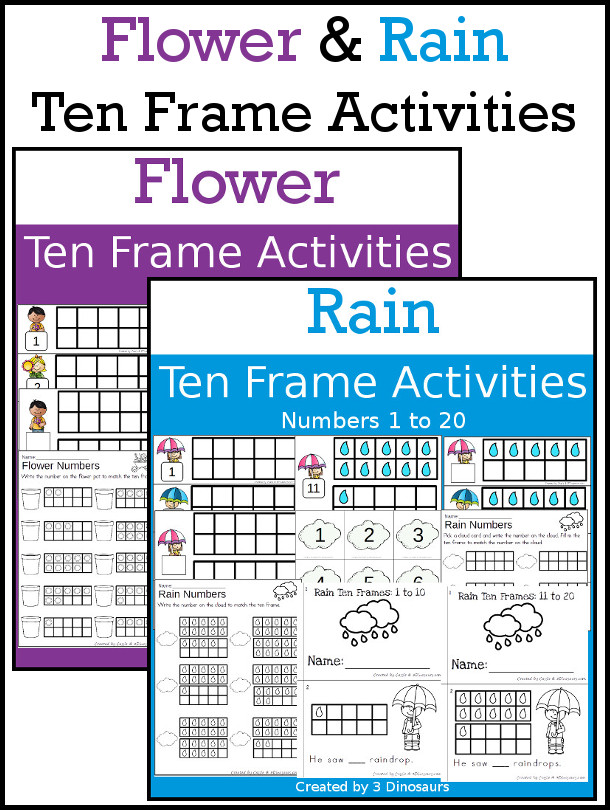 Flower and Rain Themed Ten Frame Set: 4 sets of number cards, hands-on and no prep printables, 2 easy reader books with numbers 1 to 20 $ - 3Dinosaurs.com