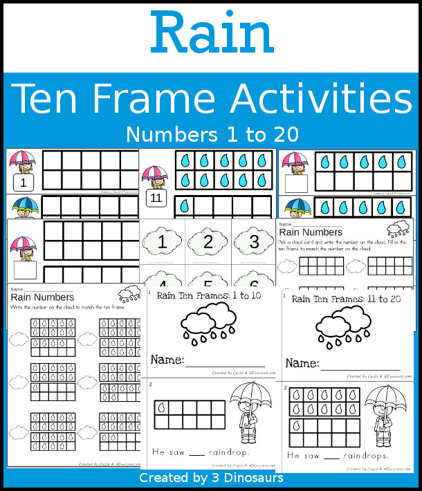 Rain Themed Ten Frame Set: 4 sets of number cards, hands-on and no prep printables, 2 easy reader books with numbers 1 to 20 $ - 3Dinosaurs.com