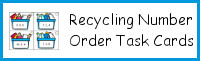 Recycling Number Order Task Cards