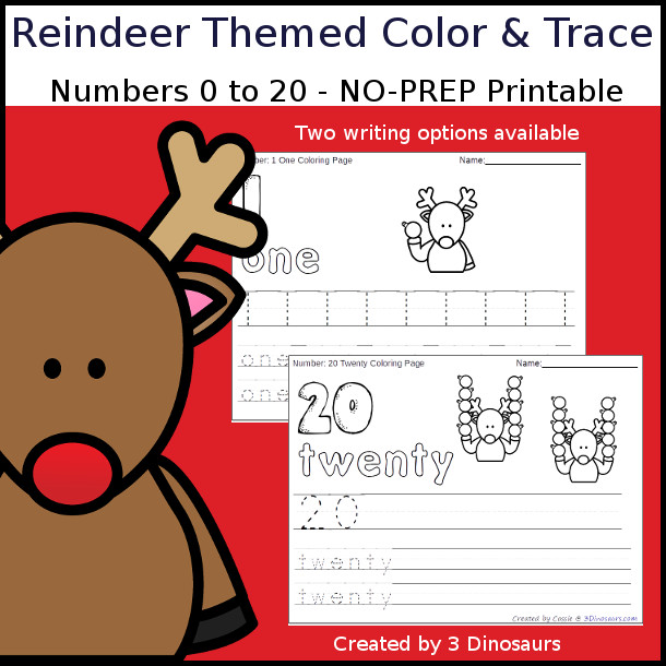 No-Prep Reindeer Themed Number Color and Trace - easy no-prep printables with a fun reindeer theme 44 pages with two options for the numbers tracing or writing $ - 3Dinosaurs.com #noprepprintable #christmasprintables #numbersforkids
