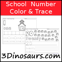 School Themed Number Color & Trace