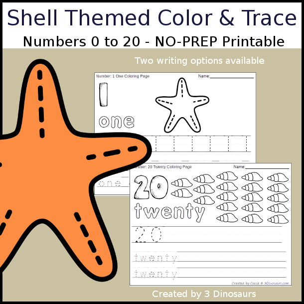 No-Prep Shell Themed Number Color and Trace - easy no-prep printables with a fun shell shape theme 44 pages with two options for the numbers tracing or writing $ - 3Dinosaurs.com #noprepprintable #summerprintables #numbersforkids