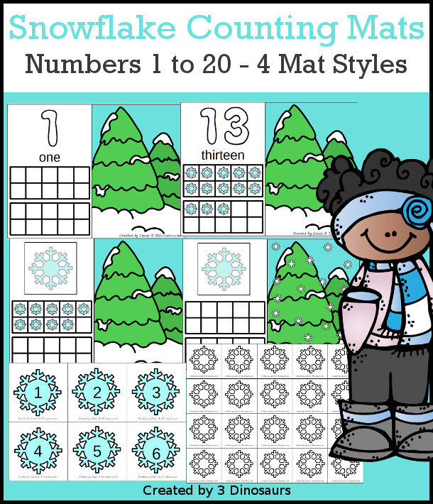 Snowflakes Counting Mats: 1 to 20 - hands-on math with playdough number and ten frames with 4 mat options - 3Dinosaurs.com