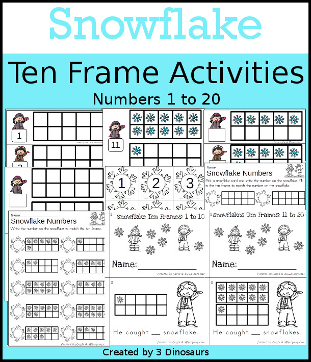 Snowflake Themed Ten Frame Set: 4 sets of number cards, hands-on and no prep printables, 2 easy reader books with numbers 1 to 20 $ - 3Dinosaurs.com  #handsonmath #teacherspayteachers #tenframe #winterprintablesforkids #printablesforkids