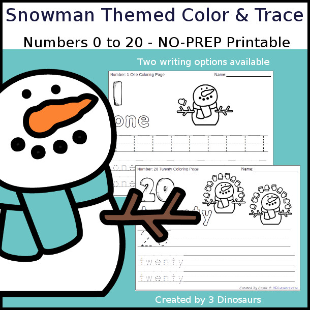 No-Prep Snowman Themed Number Color and Trace - easy no-prep printables with a fun snowman and mittens theme 44 pages with two options for the numbers tracing or writing $ - 3Dinosaurs.com #noprepprintable #snowmanprintables #numbersforkids
