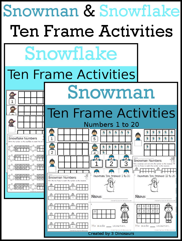 Snowman and Snowflake Themed Ten Frame Set: 4 sets of number cards, hands-on and no prep printables, 2 easy reader books with numbers 1 to 20 $ - 3Dinosaurs.com  #handsonmath #teacherspayteachers #tenframe #winterprintablesforkids #printablesforkids