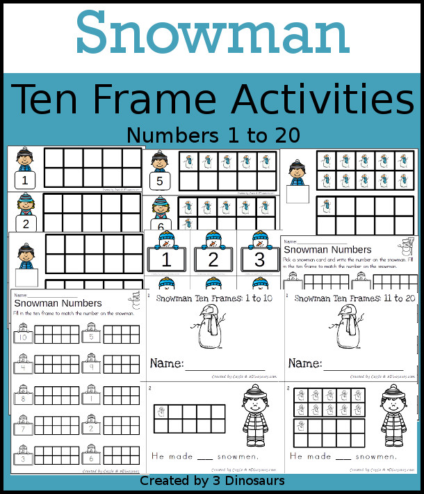 Snowman Themed Ten Frame Set: 4 sets of number cards, hands-on and no prep printables, 2 easy reader books with numbers 1 to 20 $ - 3Dinosaurs.com  #handsonmath #teacherspayteachers #tenframe #winterprintablesforkids #printablesforkids