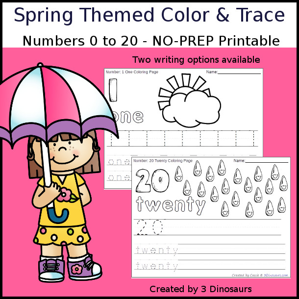 No-Prep Spring Themed Number Color and Trace - easy no-prep printables with a fun spring theme 44 pages with two options for the numbers tracing or writing $ - 3Dinosaurs.com #noprepprintable #springprintables #numbersforkids