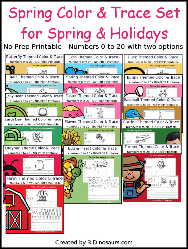 No-Prep Spring Number Color and Trace Bundle - easy no-prep printables with a fun spring themes 528 pages with two options for the numbers tracing or writing $ - 3Dinosaurs.com #noprepprintable  #springprintables  #numbersforkids