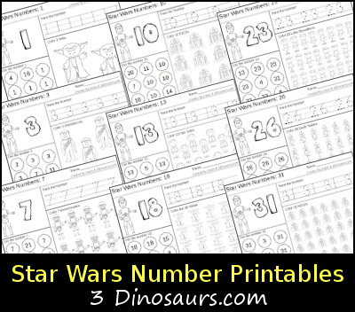 Free Star Wars Themed Number Printables - with numbers 1 to 31 - 3Dinosaurs.com