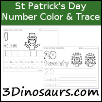 St Patricks Day Themed Number Color & Trace