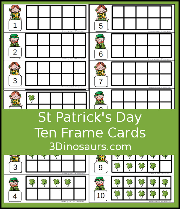 Free St Patrick's Day Ten Frame Cards - two different types of cards to use with clovers- 3Dinosaurs.com #handsonlearning #mathforkids #freeprintables #stpatricksday #tenframeactivities