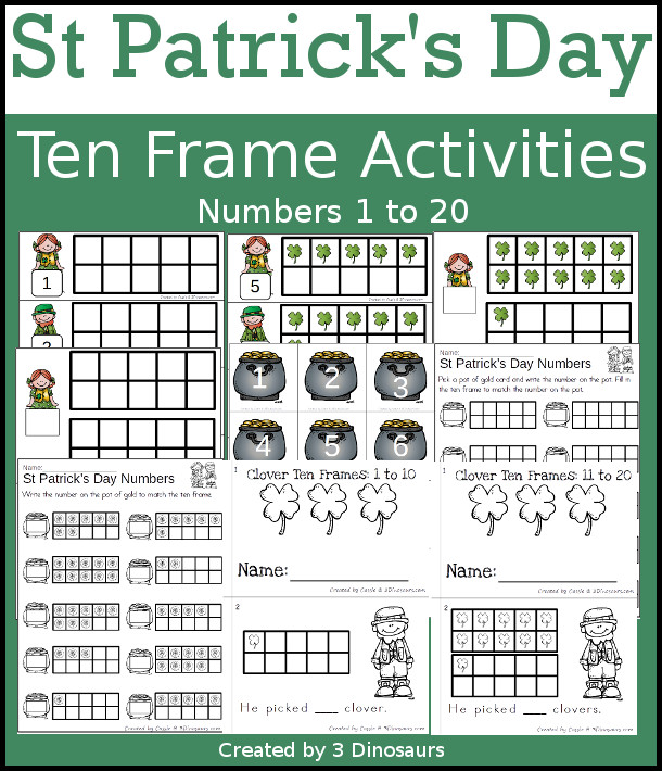 St Patrick's Day Themed Ten Frame Set: 4 sets of number cards, hands-on and no prep printables, 2 easy reader books with numbers 1 to 20 $ - 3Dinosaurs.com #handsonlearning #mathforkids #tpt #stpatricksday #tenframeactivities #noprepworksheet #easyreaderbook