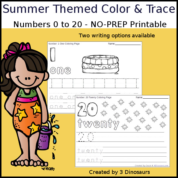 No-Prep Summer Themed Number Color and Trace - easy no-prep printables with a fun summer theme 44 pages with two options for the numbers tracing or writing $ - 3Dinosaurs.com #noprepprintable #summerprintables #numbersforkids