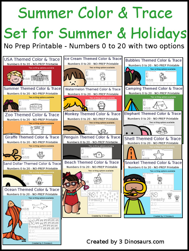 No-Prep Summer Number Color and Trace Bundle - easy no-prep printables with a fun summer themes  pages with two options for the numbers tracing or writing $ - 3Dinosaurs.com #noprepprintable  #summerprintables  #numbersforkids
