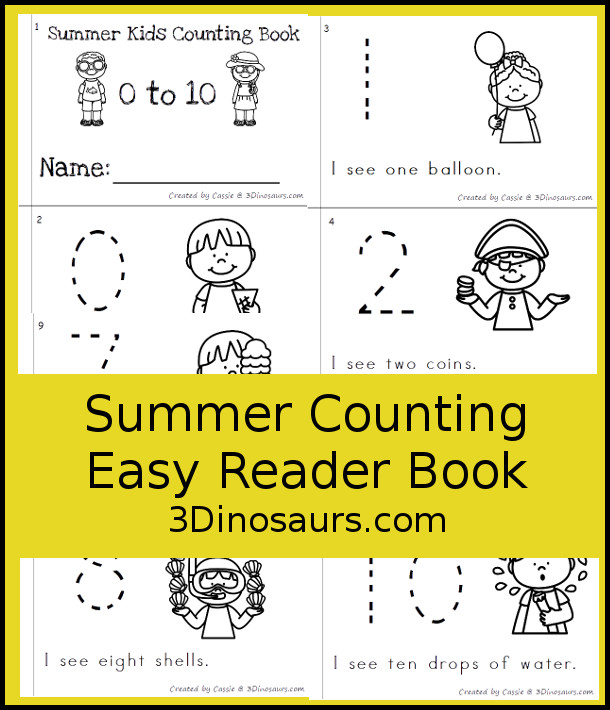 FREE Summer Kids Counting Easy Reader Book - has 6 pages with number 0 to 10 with kids summer themes - 3Dinosaurs.com