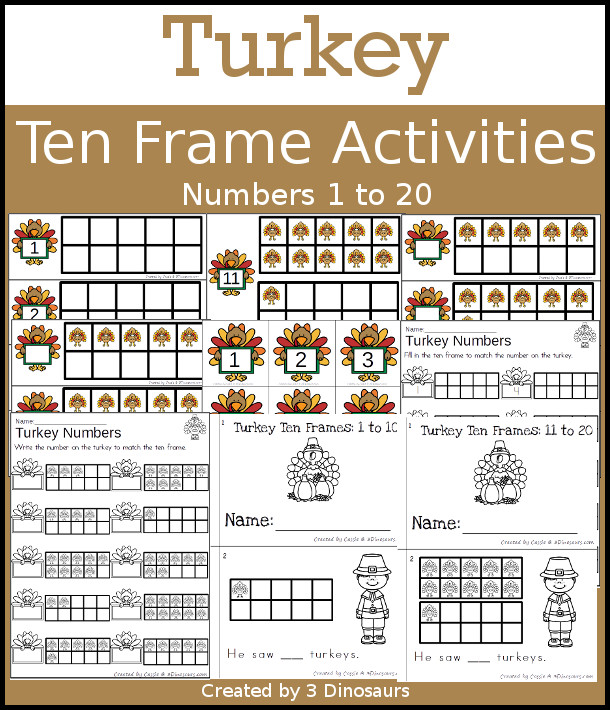Turkey Themed Ten Frame Set: 4 sets of number cards, hands-on and no prep printables, 2 easy reader books with numbers 1 to 20 $ - 3Dinosaurs.com #handsonlearning #mathforkids #tpt #thanksgiving #tenframeactivities #noprepworksheet #easyreaderbook