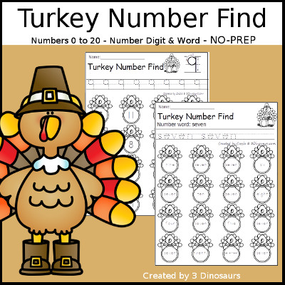 Turkey Themed Number Find: Digit and Words with tracing $ - 3Dinosaurs.com