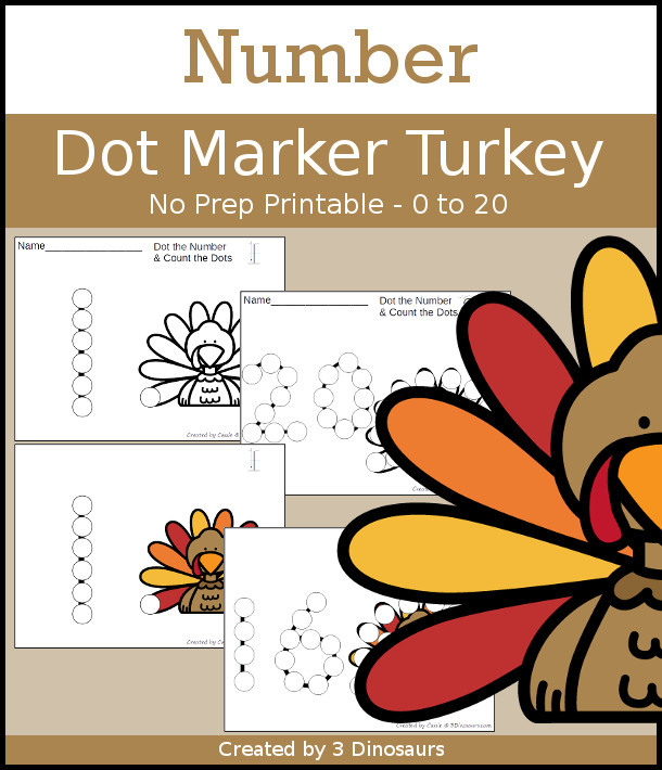 Turkey Dot the Number & Count the Dots - numbers 0 to 20 with dot marker activities for kids to work on numbers and counting - 3Dinosaurs.com