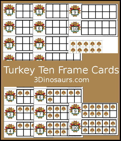 Turkey Ten Frame Printables - 3Dinosaurs.com