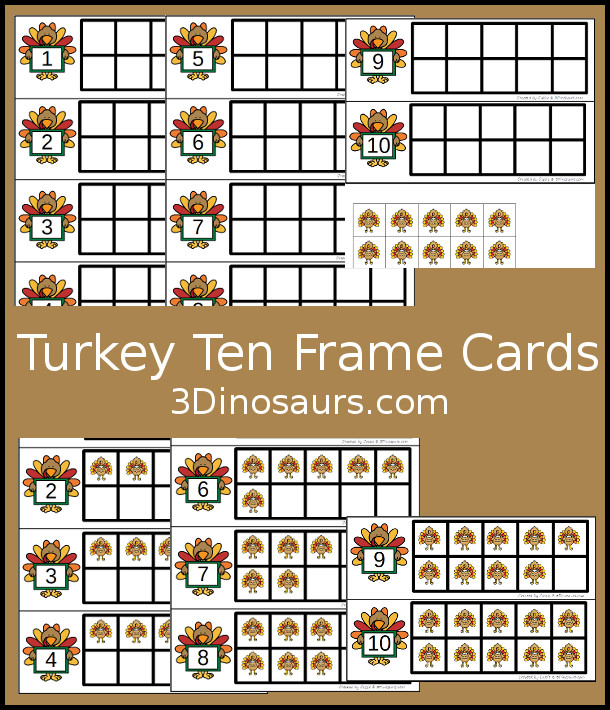 Free Turkey Ten Frame Cards - two different types of cards to use with turkeys - 3Dinosaurs.com #handsonlearning #mathforkids #freeprintables #thanksgiving #tenframeactivities