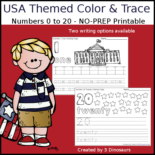 No-Prep USA Themed Number Color and Trace - easy no-prep printables with a fun summer theme 44 pages with two options for the nubmers tracing or writing $ - 3Dinosaurs.com