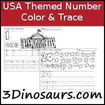 USA Themed Number Color & Trace Sample