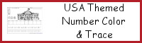 USA Themed Number Color & Trace