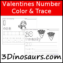 Valentines Themed Number Color & Trace