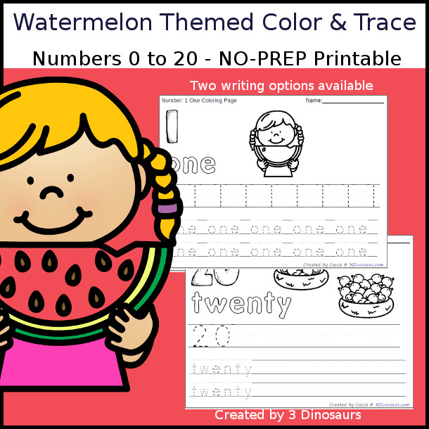 No-Prep Watermelon Themed Number Color and Trace - easy no-prep printables with a fun summer theme 44 pages with two options for the numbers tracing or writing $ - 3Dinosaurs.com #noprepprintable #summerprintables #numbersforkids