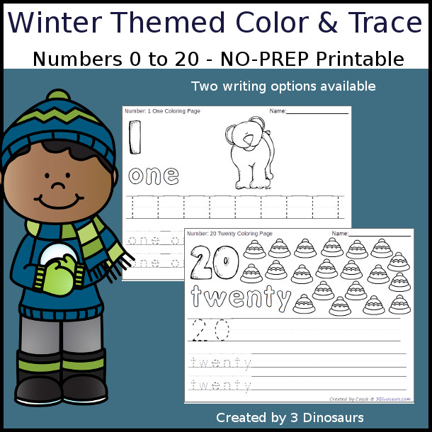 No-Prep Winter Themed Number Color and Trace - easy no-prep printables with a fun general winter theme 44 pages with two options for the numbers tracing or writing $ - 3Dinosaurs.com #noprepprintable #winterprintables #numbersforkids