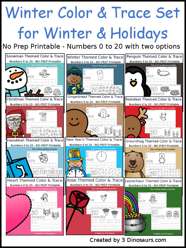 No-Prep Winter Number Color and Trace Bundle - easy no-prep printables with a fun winter themes 308 pages with two options for the numbers tracing or writing $ - 3Dinosaurs.com #noprepprintable #winterprintables #christmasprintables #numbersforkids