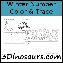 Winter Themed Number Color & Trace