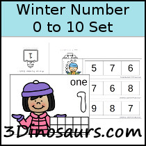 Winter Number Set 1 to 10 - 3Dinosaurs.com